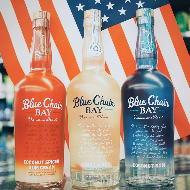 Product Photo of Blue Chair Bay Rums Red White and Blue bottles