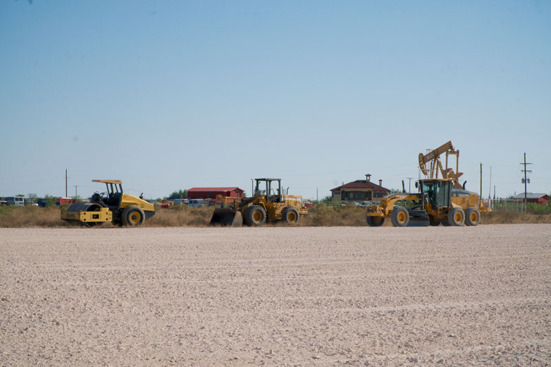Equipment used in paving caliche