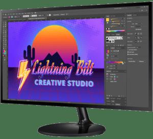 Graphic Design Monitor showcasing a trendy version of Lightning Bilt's logo