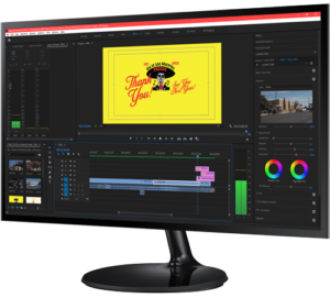 Video Production monitor showing edits, filters, sound on a timeline