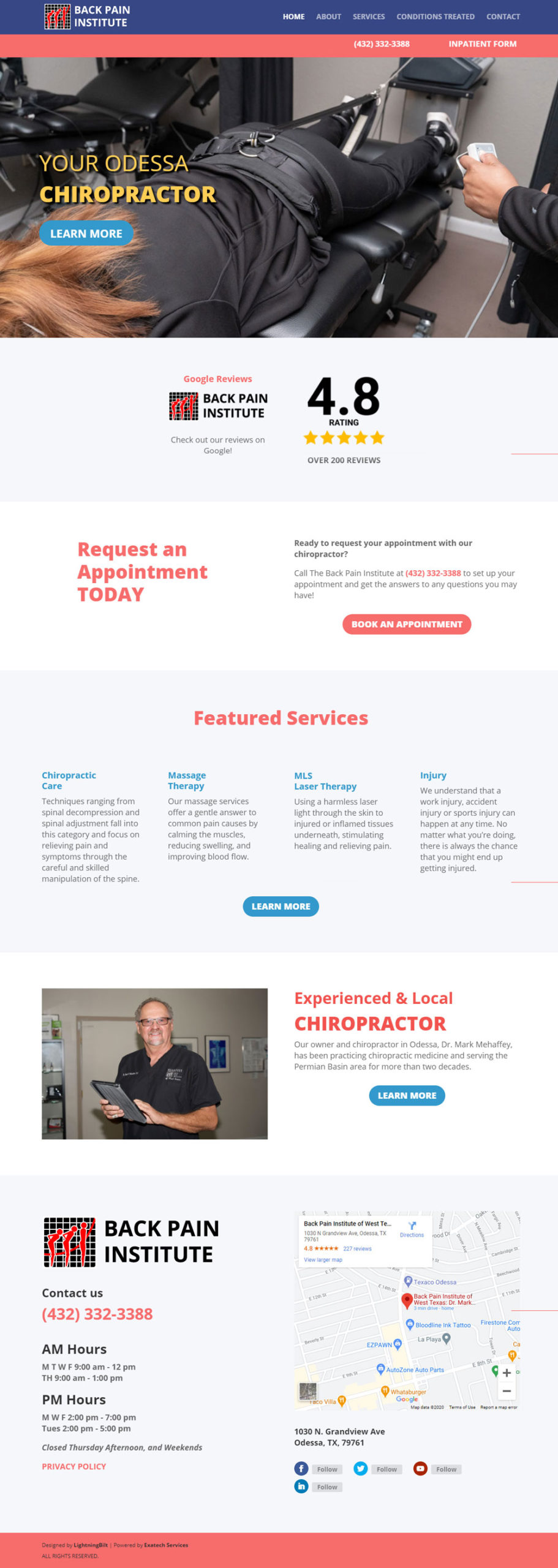 Home web page for Back Pain Institute Website