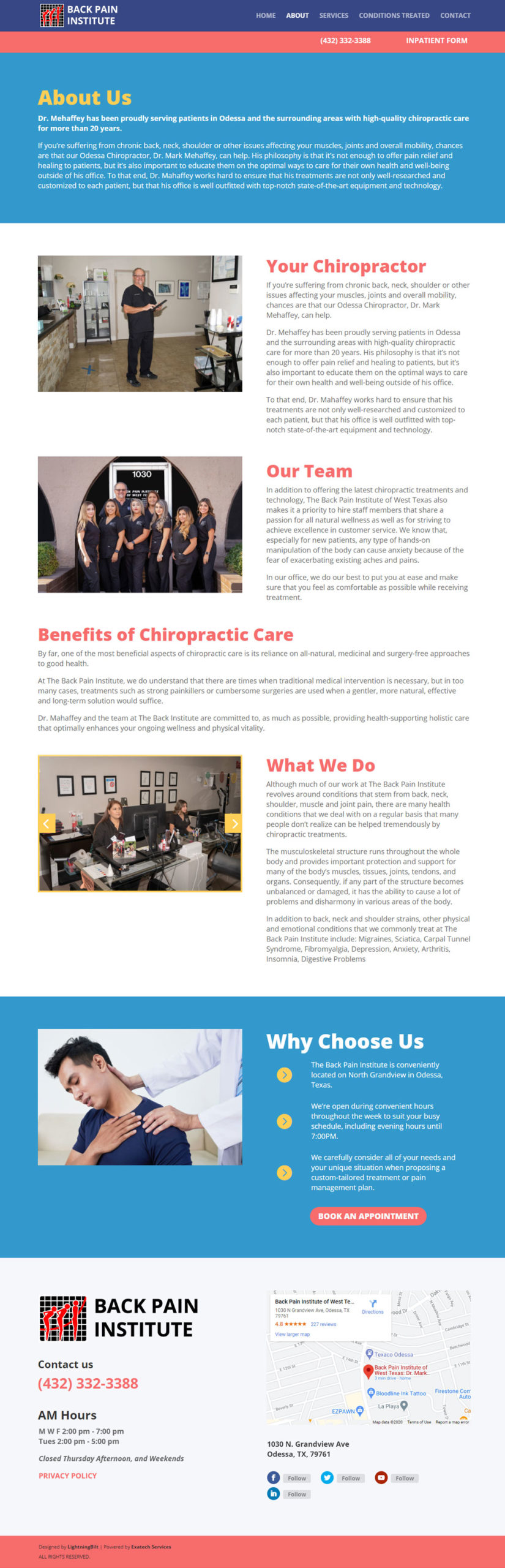 About web page for Back Pain Institute Website